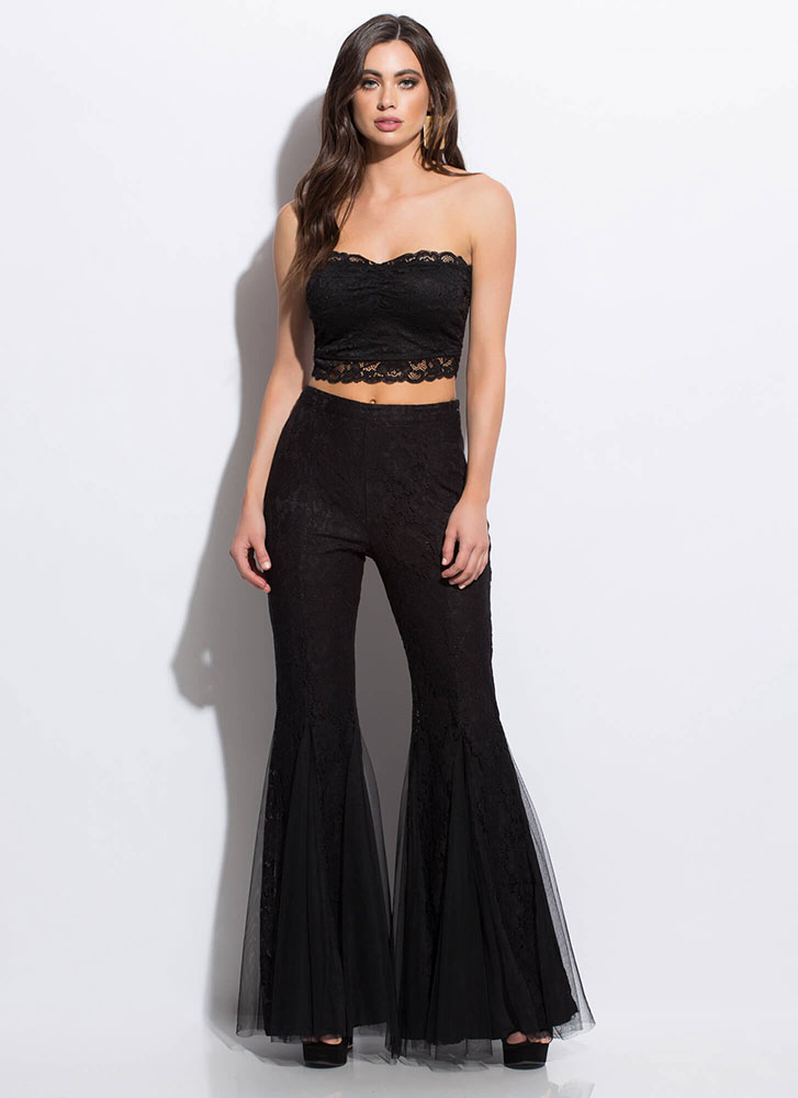 Lace Be Sweethearts Cropped Tube Top BLACK