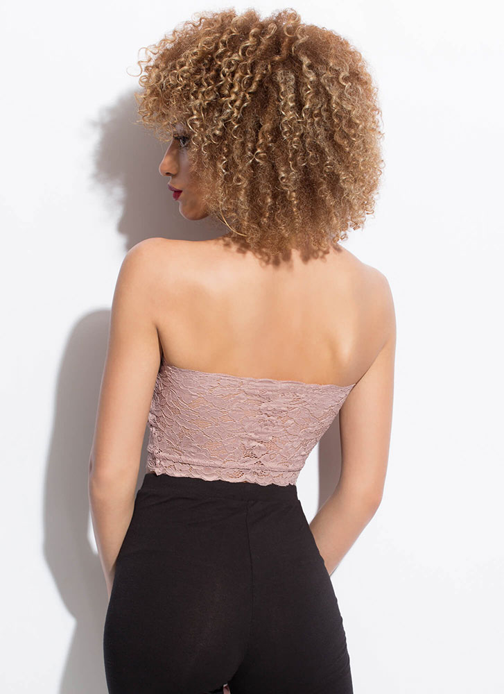 Lace Be Sweethearts Cropped Tube Top MAUVE