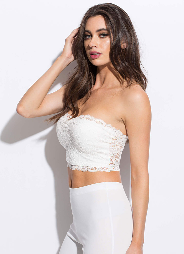 Lace Be Sweethearts Cropped Tube Top WHITE