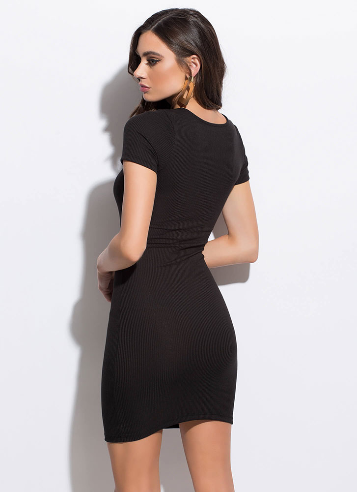How Do You Figure Rib Knit Minidress BLACK