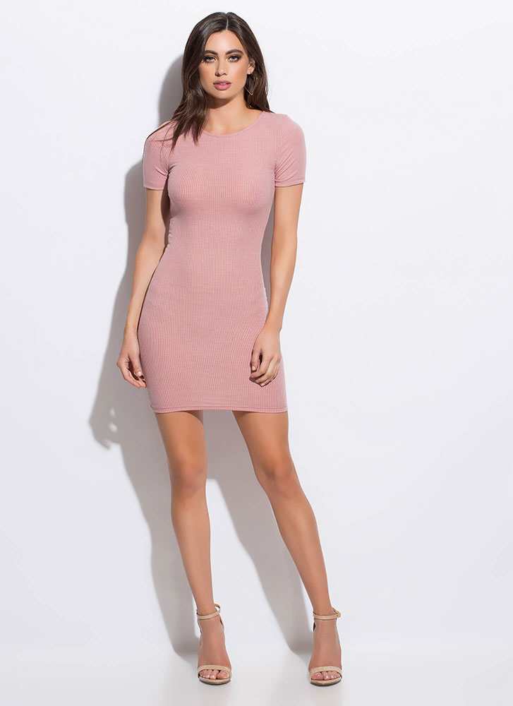 How Do You Figure Rib Knit Minidress MAUVE