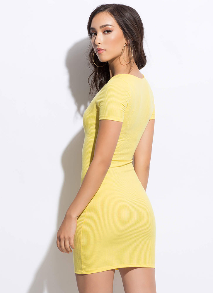 How Do You Figure Rib Knit Minidress YELLOW