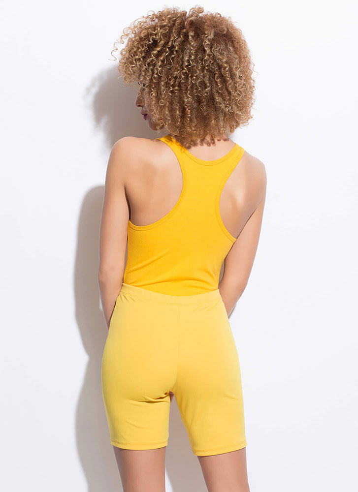 Can't Live Without My Solid Biker Shorts MUSTARD
