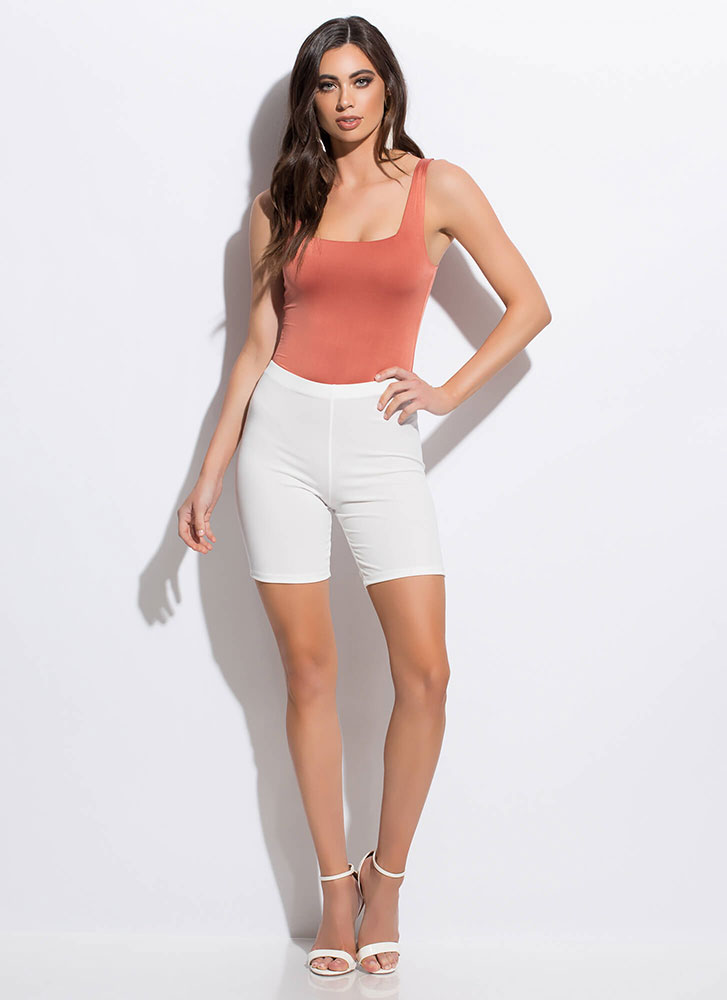 Can't Live Without My Solid Biker Shorts WHITE