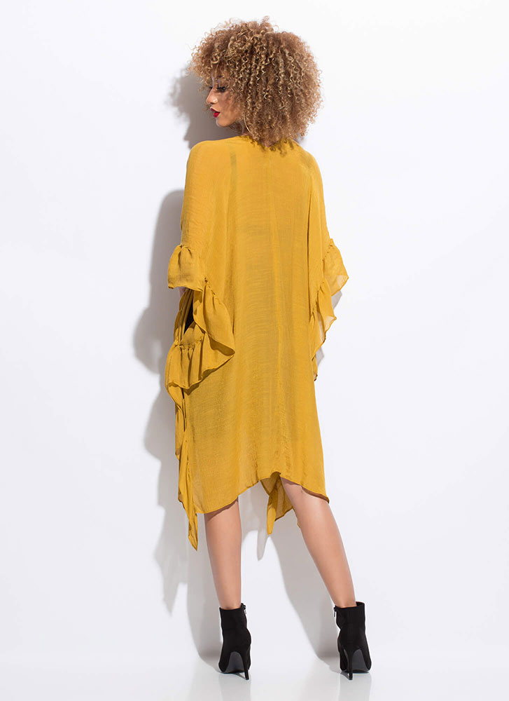 Effortless Chic Ruffled Draped Duster MUSTARD