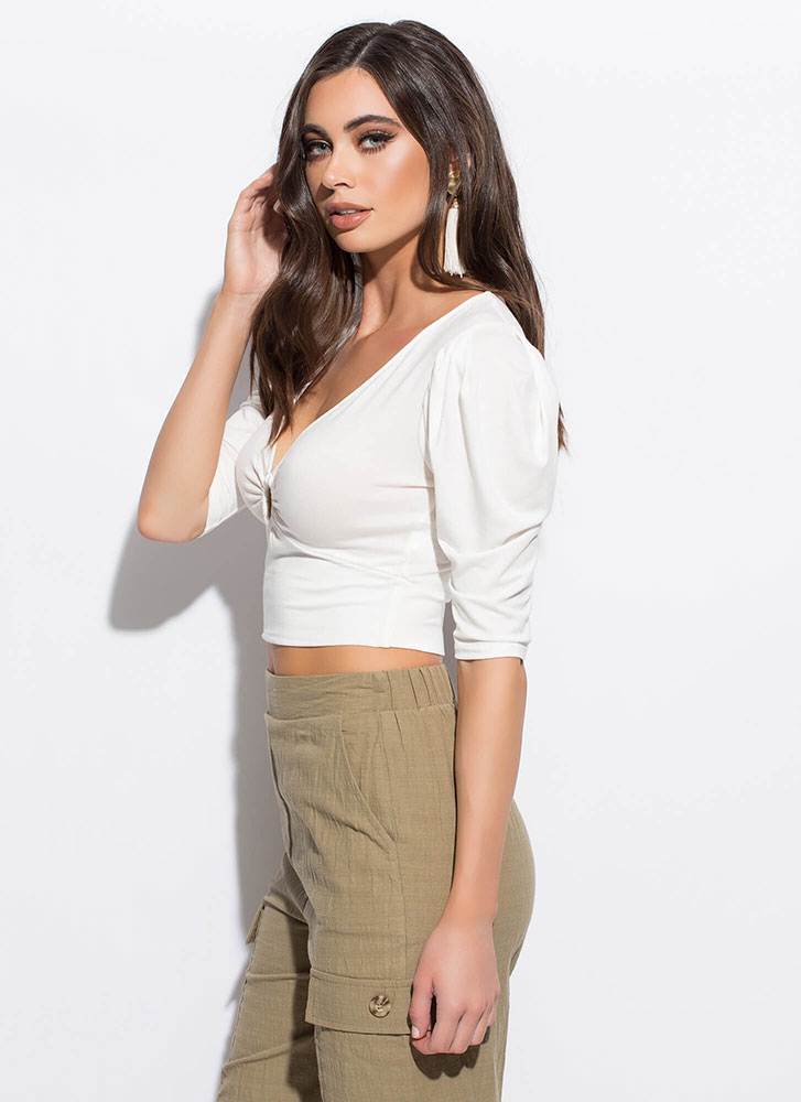 Ring Girl Cinched Puffy Sleeve Crop Top IVORY