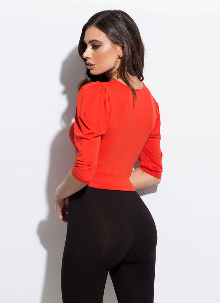 Ring Girl Cinched Puffy Sleeve Crop Top ORANGE