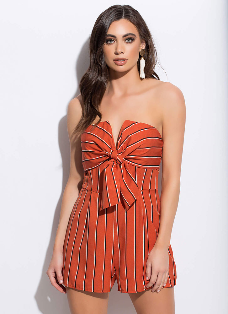 Ready Or Knot Strapless Pinstripe Romper RUST