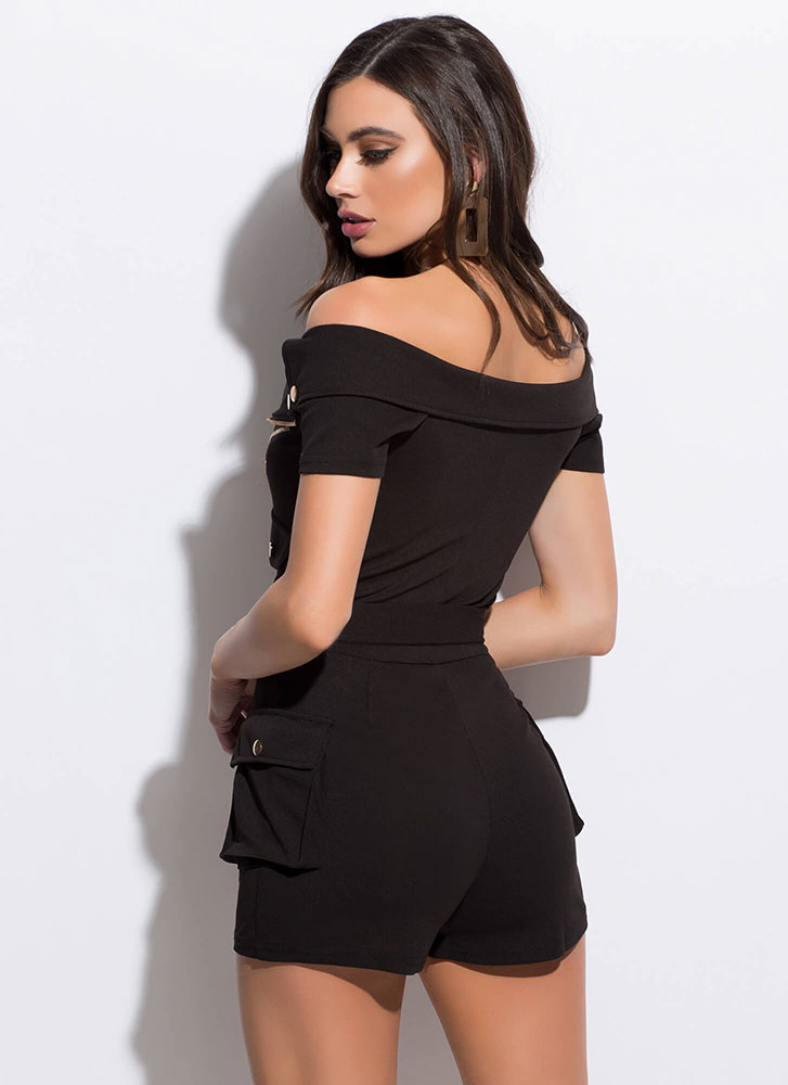 Fun Ride Belted Pocketed Moto Romper BLACK