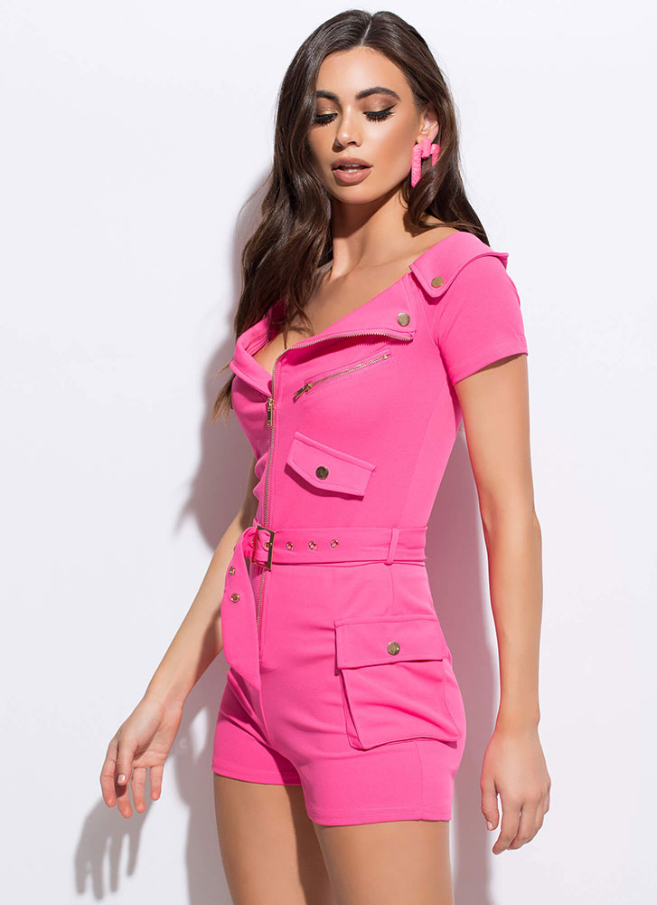 Fun Ride Belted Pocketed Moto Romper NEONPINK