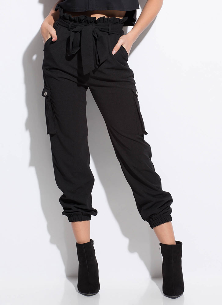 High Fashion Tied Cargo Joggers BLACK