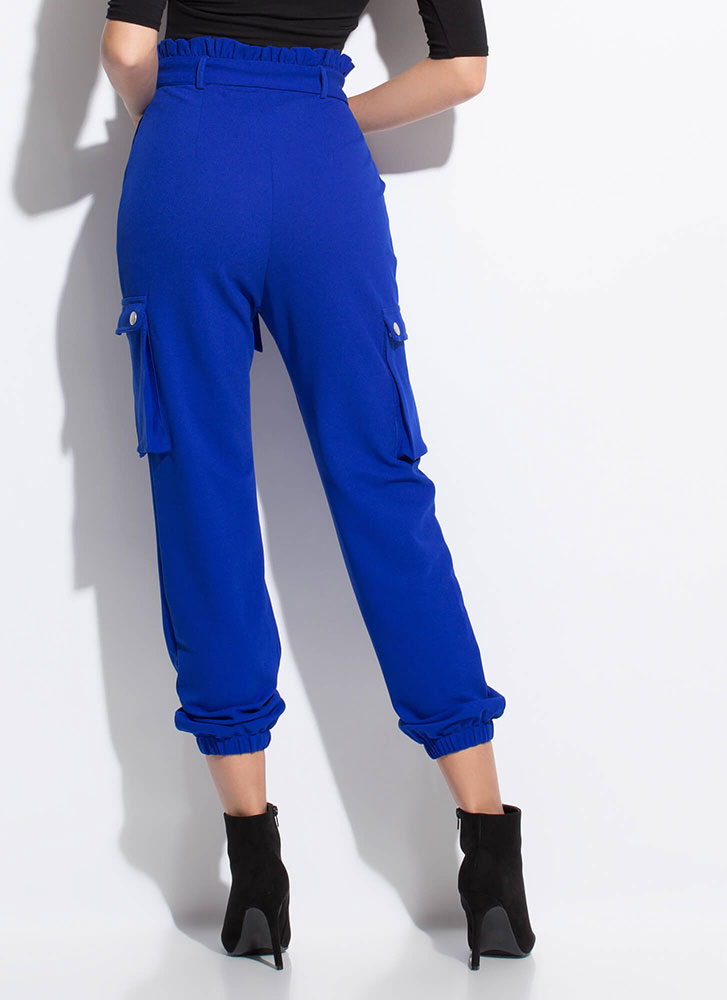 High Fashion Tied Cargo Joggers ROYAL