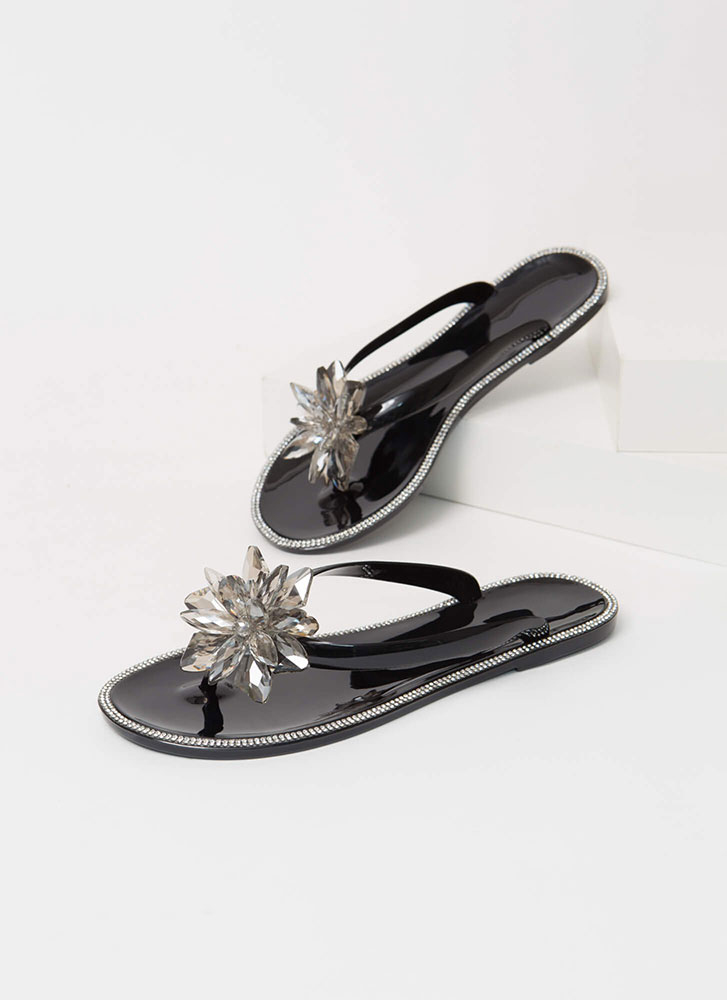 Jewels And Flowers Jelly Thong Sandals BLACK