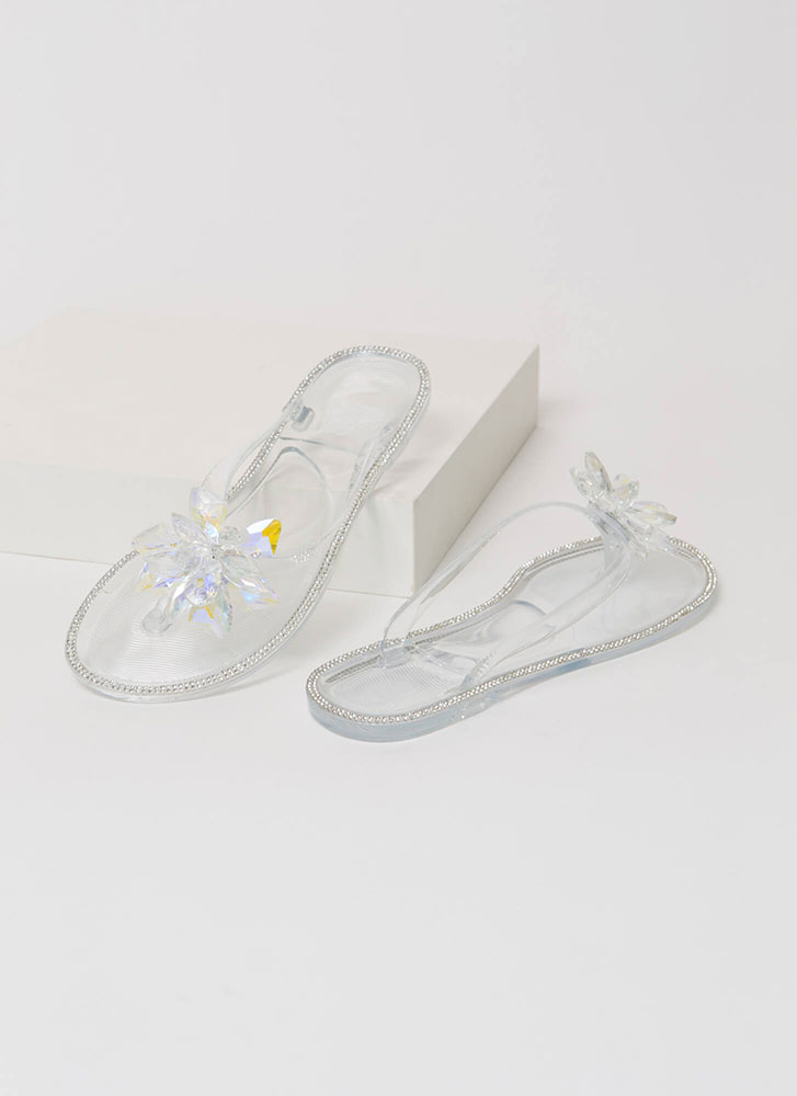 Jewels And Flowers Jelly Thong Sandals CLEAR