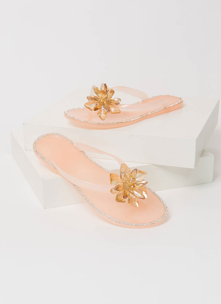 Jewels And Flowers Jelly Thong Sandals NUDE