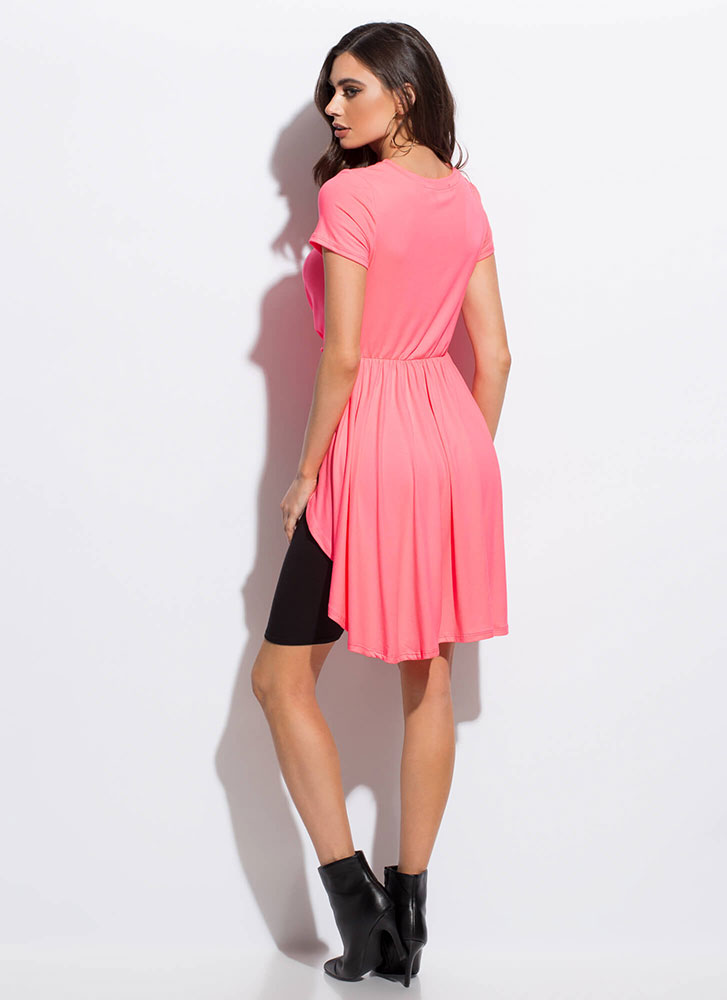 Here's The Twist Knotted High-Low Top NEONPINK