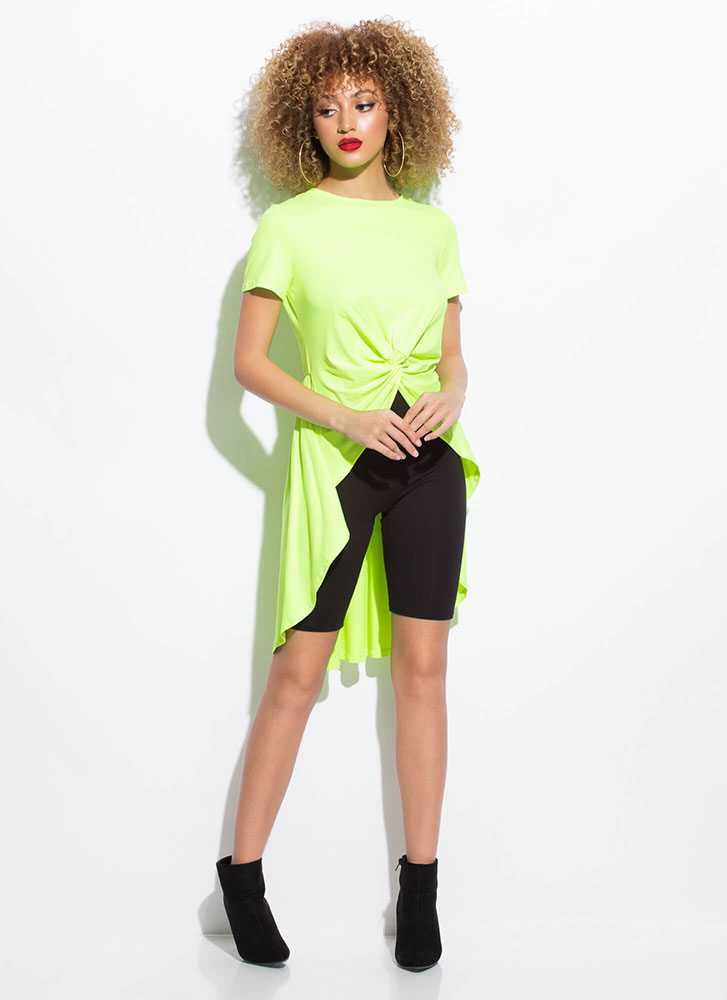 Here's The Twist Knotted High-Low Top NEONYELLOW