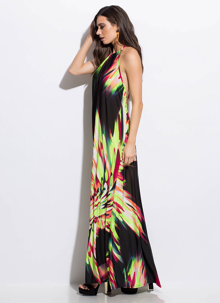 New Flames Abstract Halter Maxi Dress NEONYELLOW