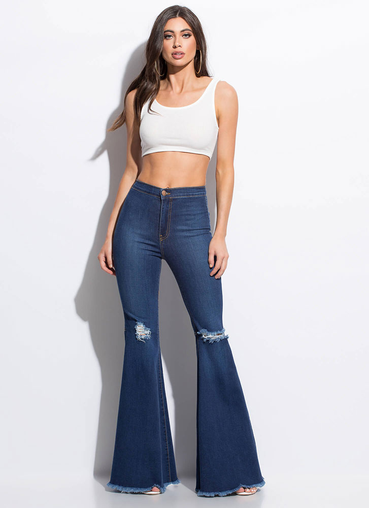 Go Retro Fringed Bell-Bottom Jeans MEDBLUE