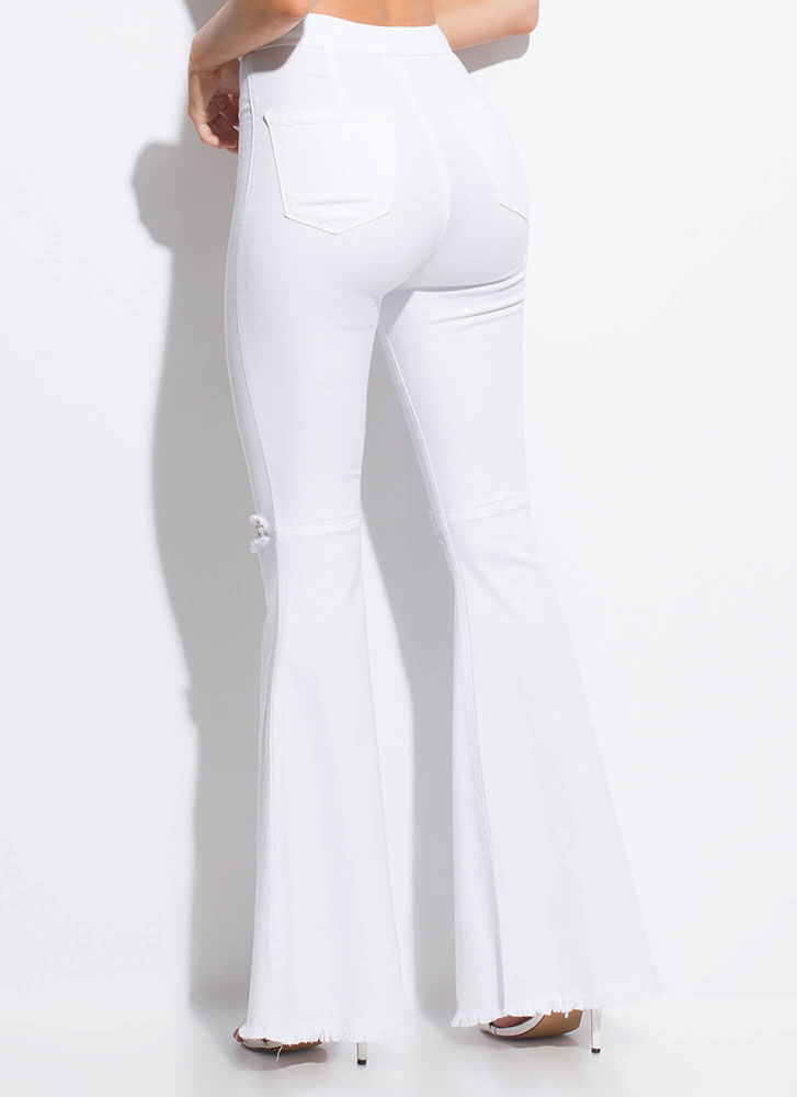 Go Retro Fringed Bell-Bottom Jeans WHITE