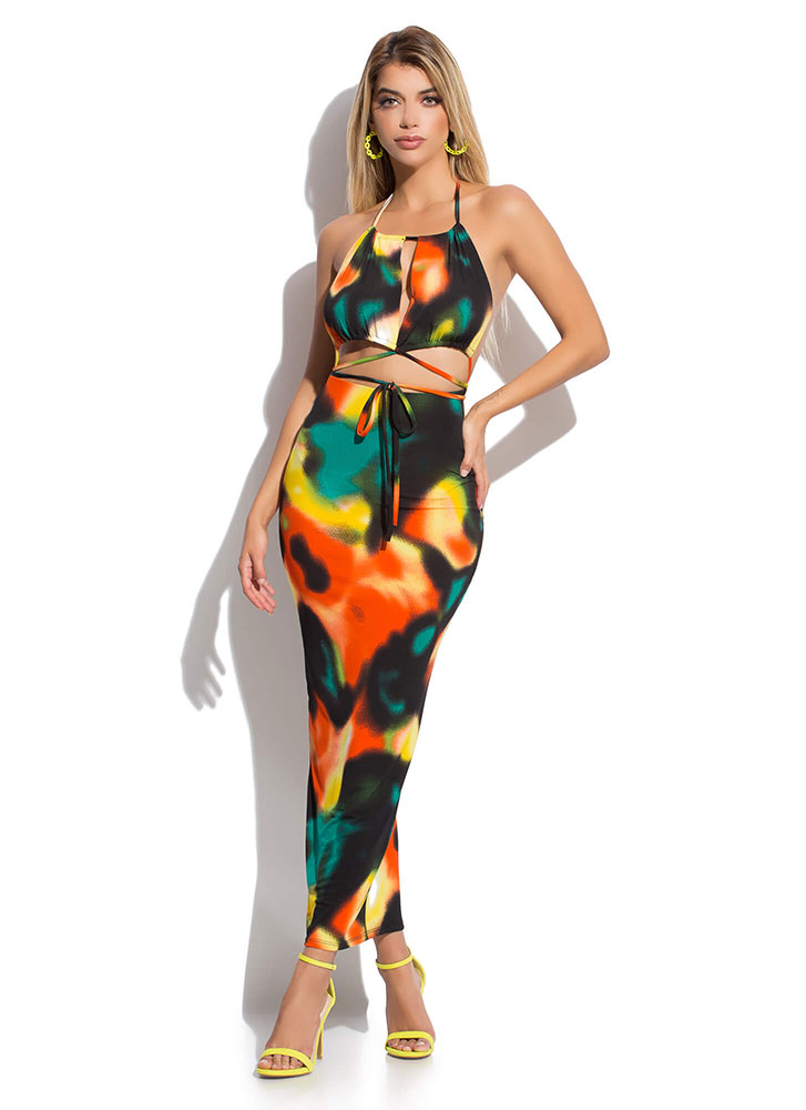 Abstract Idea Tied Halter Maxi Dress GREENMULTI