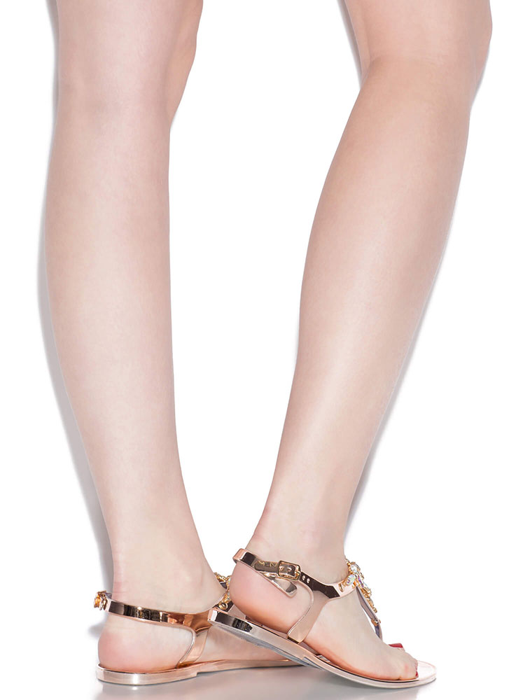 Flowers And Jewels Jelly T-Strap Sandals ROSEGOLD
