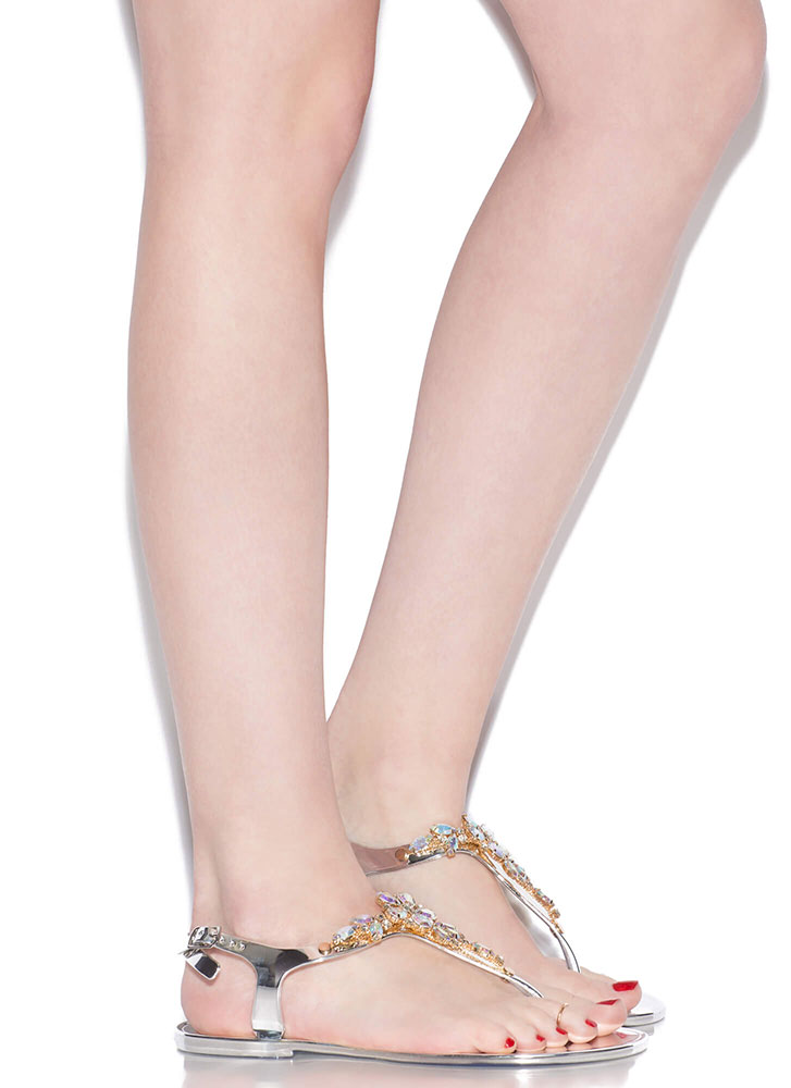 Flowers And Jewels Jelly T-Strap Sandals SILVER