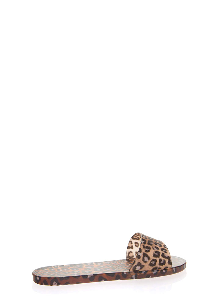 Animal Kingdom Jelly Slide Sandals LEOPARD