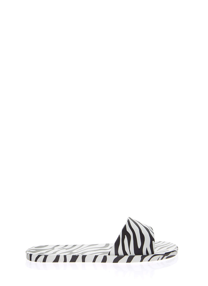 Animal Kingdom Jelly Slide Sandals ZEBRA