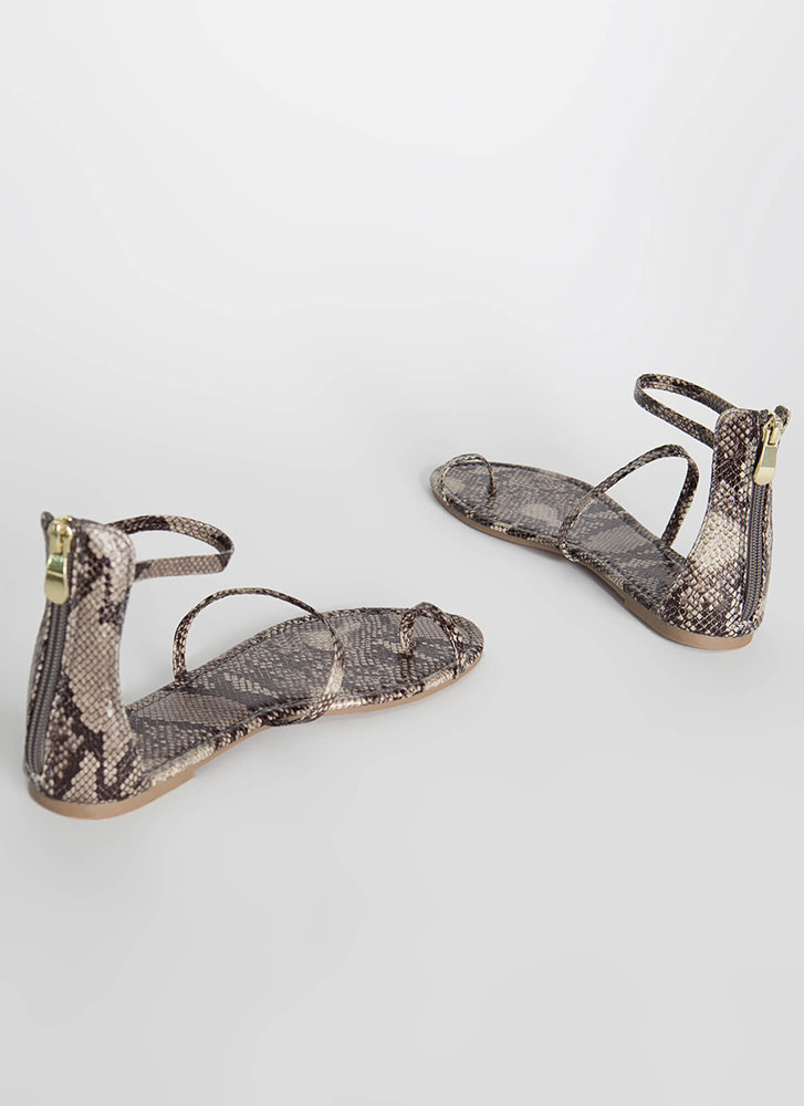 Simple Math Triple Strap Snake Sandals SNAKE