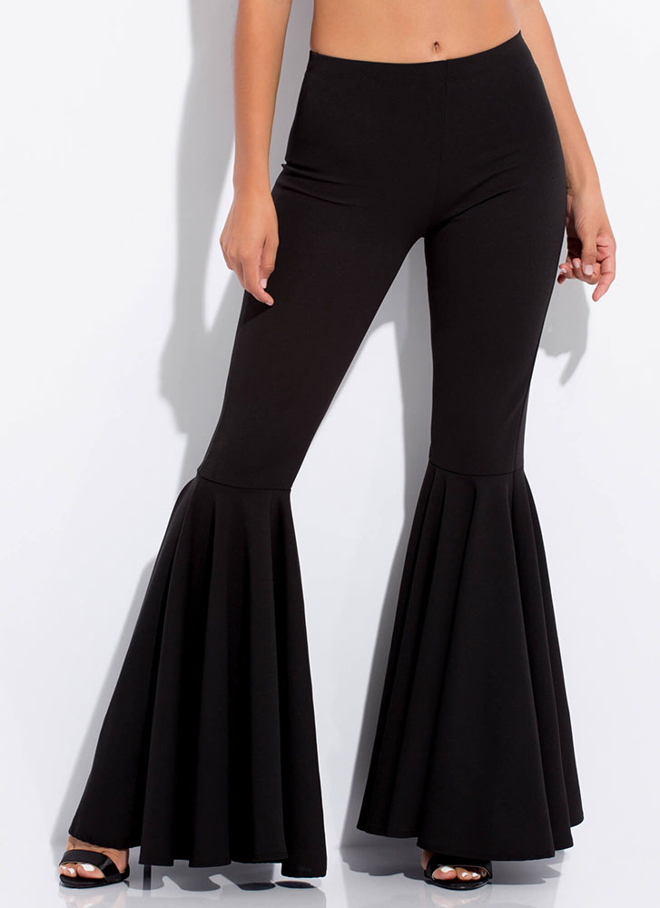 A Flare For Drama Bell-Bottom Pants BLACK
