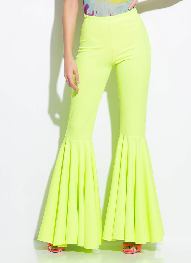 A Flare For Drama Bell-Bottom Pants NEONLIME