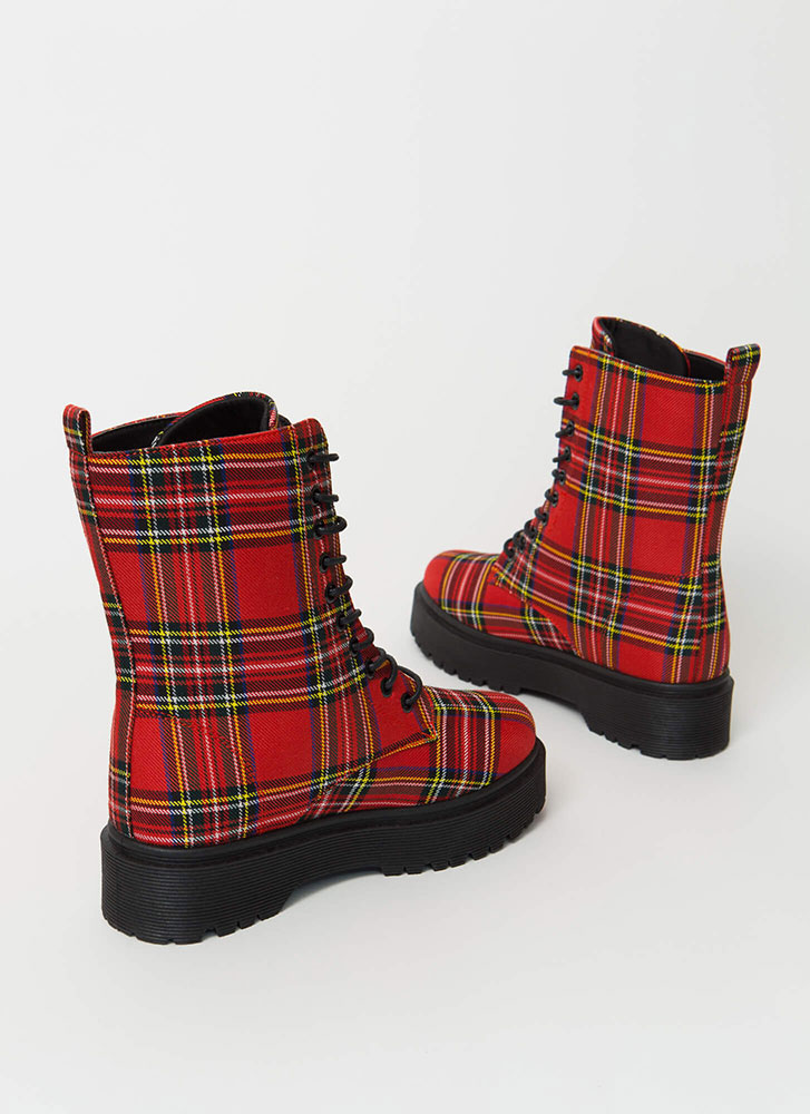 Punk Movement Plaid Combat Boots RED