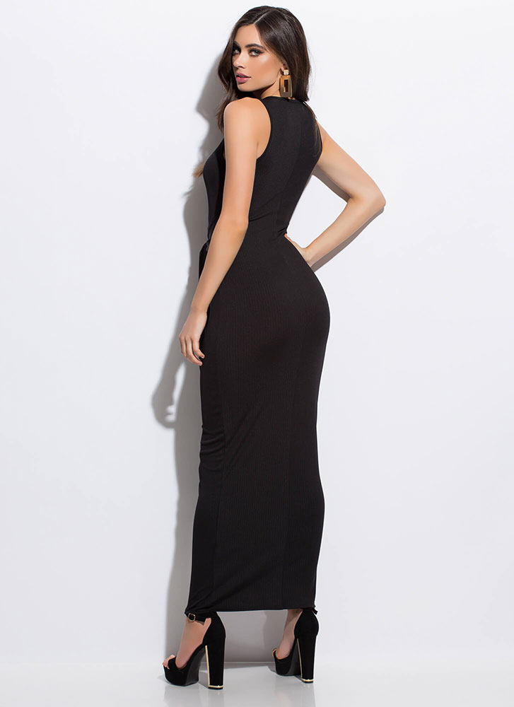 Fit To Be Tied Rib Knit Maxi Dress BLACK