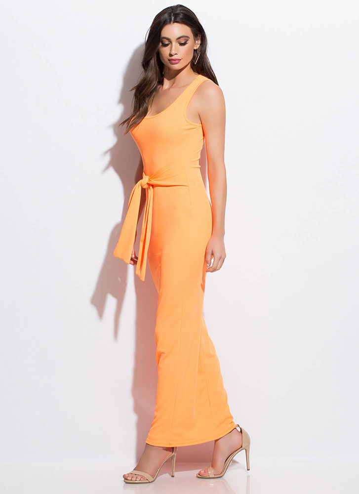 Fit To Be Tied Rib Knit Maxi Dress ORANGE