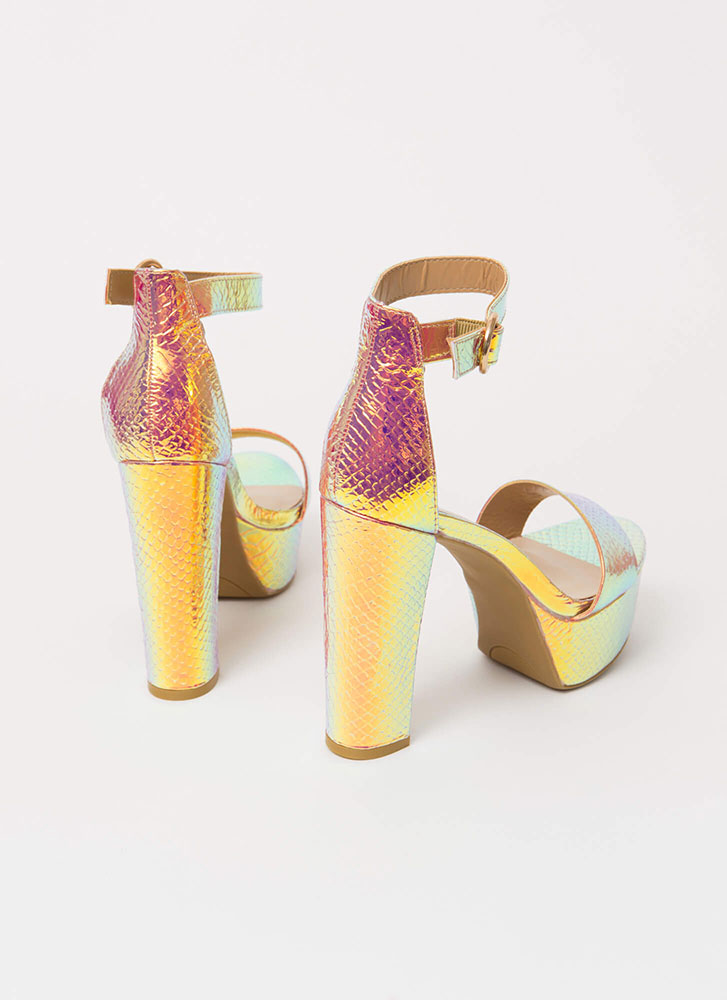Oh Wow Iridescent Scaled Platform Heels IRIDESCENT