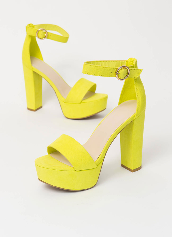 Oh Wow Chunky Faux Suede Platform Heels NEONYELLOW