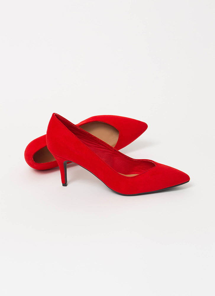 Keep It Short Pointy Almond Toe Pumps RED