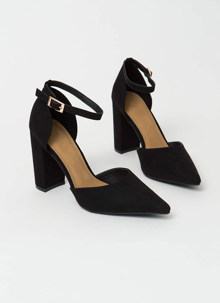 I'm A Lady Chunky Pointy D'Orsay Heels BLACK