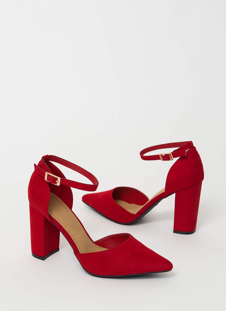 I'm A Lady Chunky Pointy D'Orsay Heels RED