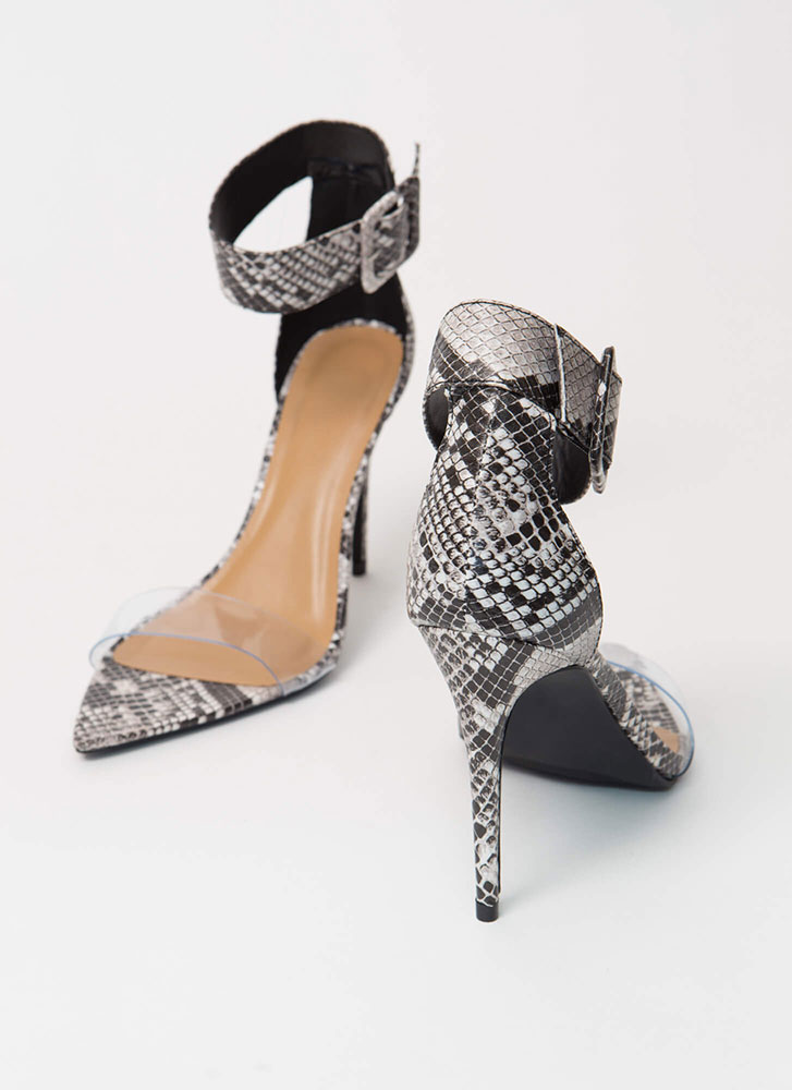 Reptile Clear Strap Faux Snake Heels BLACK