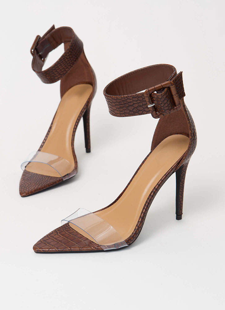 Reptile Clear Strap Faux Crocodile Heels BROWN