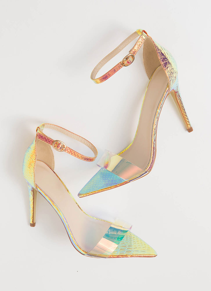 Snake Your Claim Clear Strap Heels IRIDESCENT