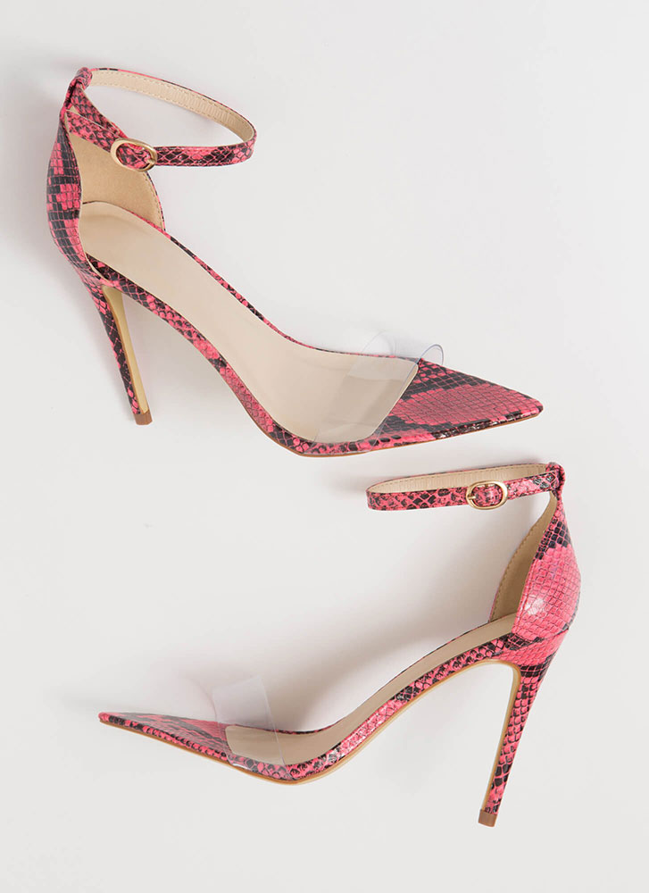 Snake Your Claim Clear Strap Heels NEONPINK