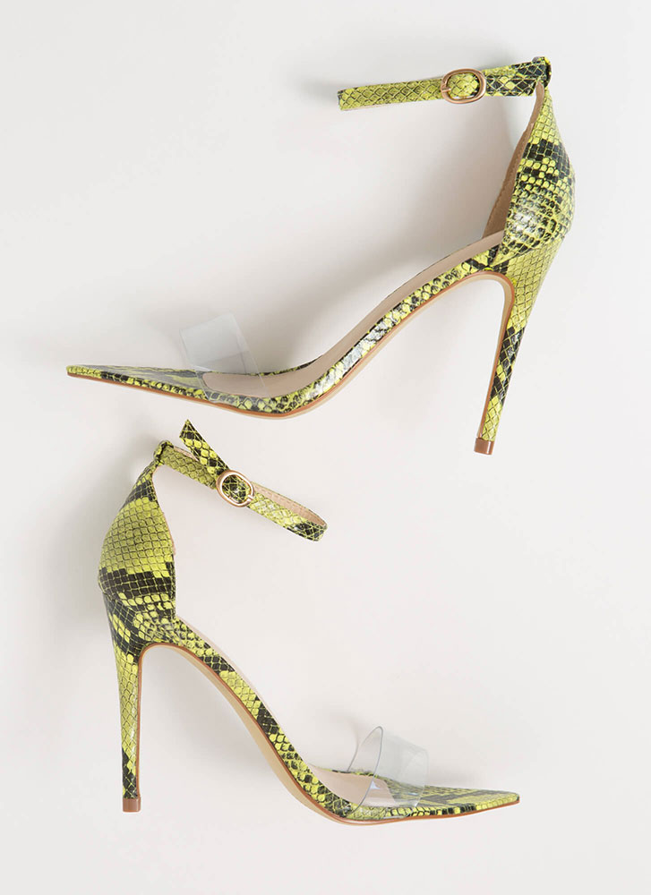 Snake Your Claim Clear Strap Heels NEONYELLOW