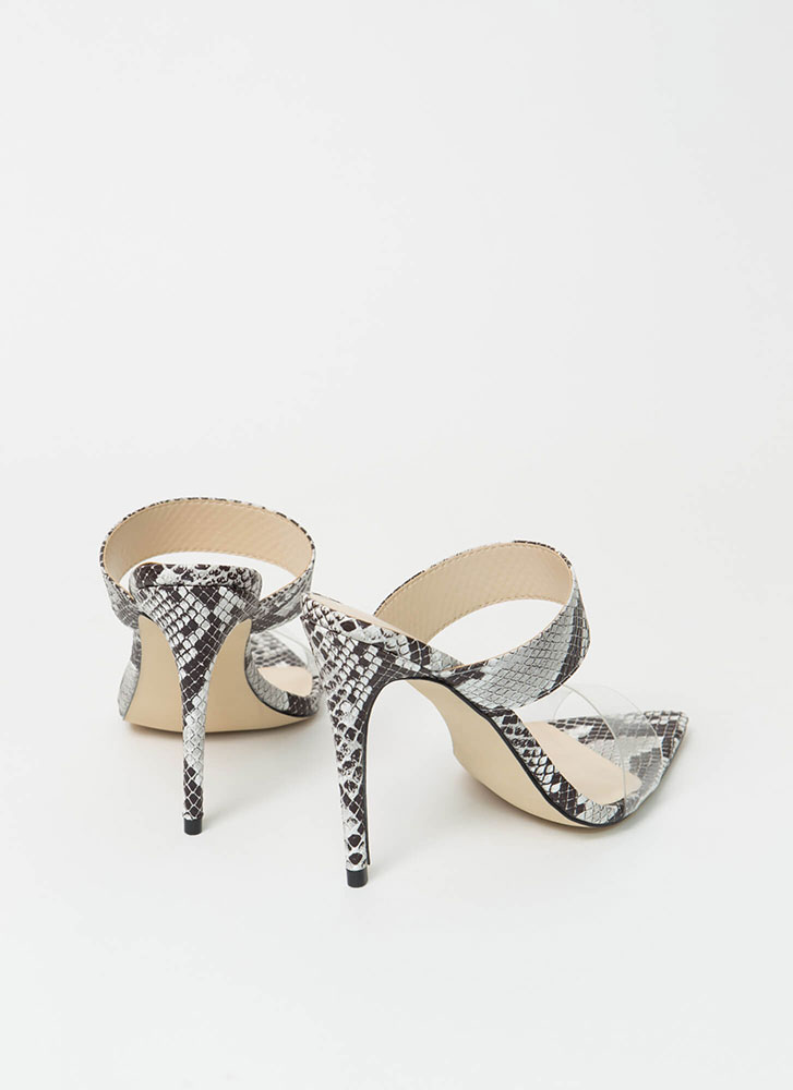 Clear My Name Strappy Snake Heels BLACK