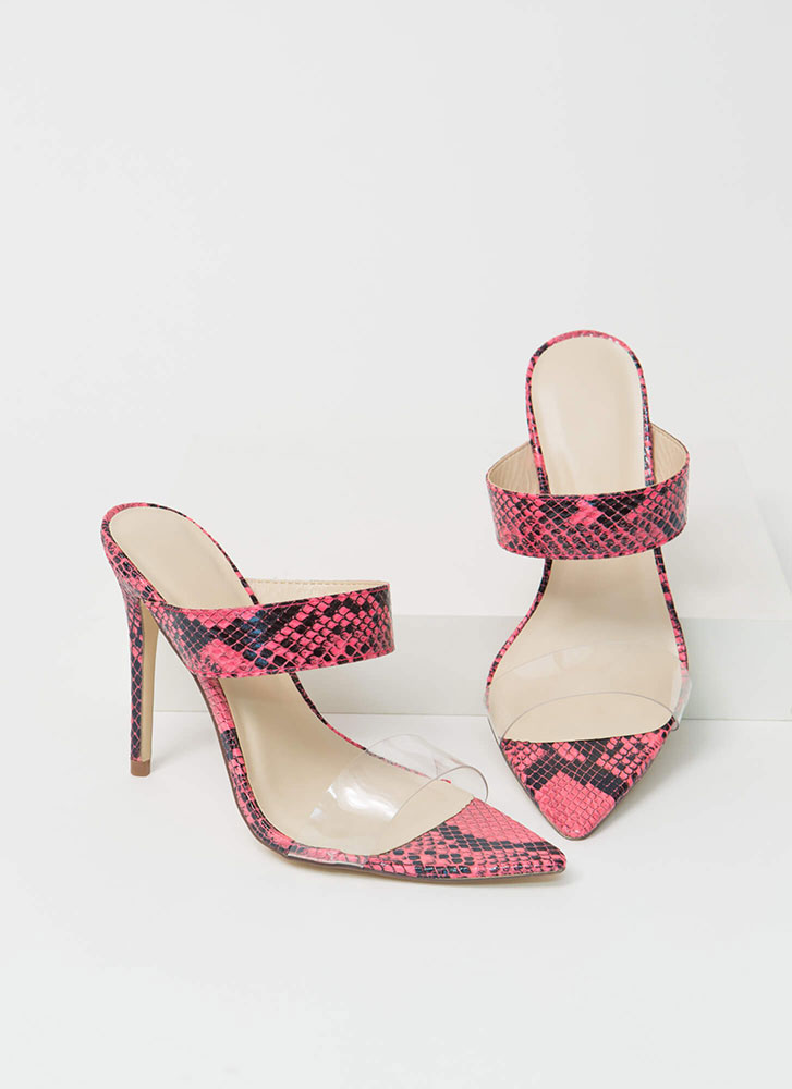 Clear My Name Strappy Snake Heels NEONPINK