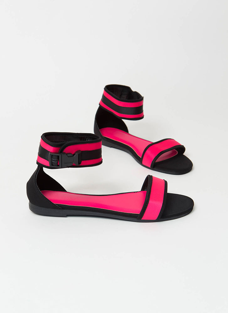 Sporty Vibes Buckled Strap Sandals NEONPINK (Final Sale)