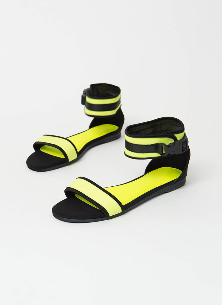 Sporty Vibes Buckled Strap Sandals NEONYELLOW (Final Sale)