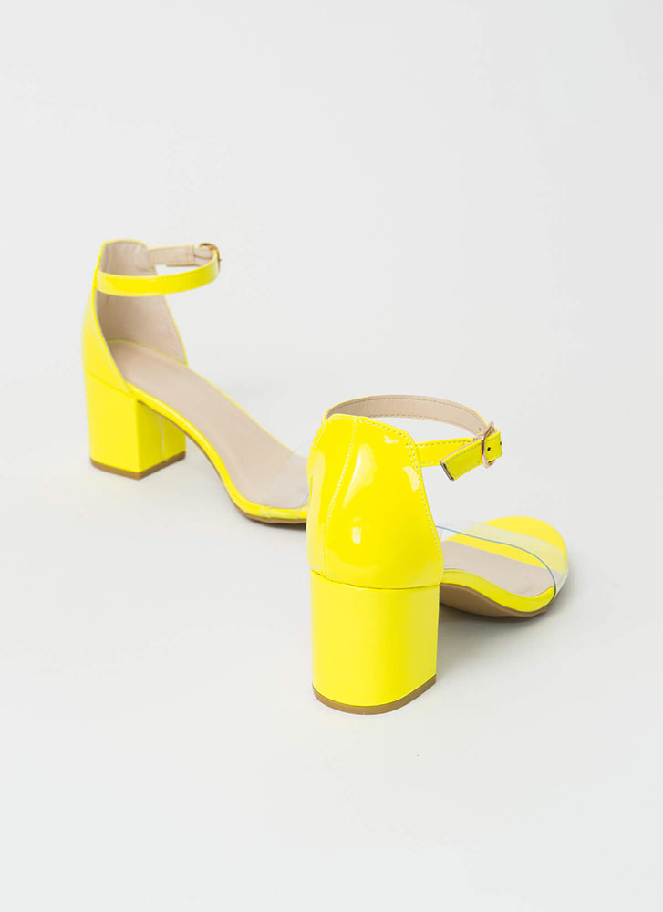 Clear Conscience Faux Patent Block Heels NEONYELLOW